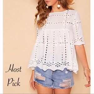 Tops - White Eyelet Embroidery Breezy Top S-XL